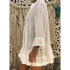 Solid Lace V-neck Long Sleeves Button Up Casual Blouses