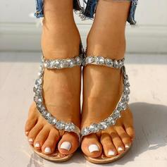 Women's PU Wedge Heel Sandals Flats Peep Toe Toe Ring With Rhinestone shoes