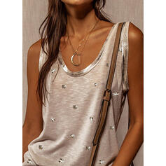 Sequins Round Neck Sleeveless Tank Tops