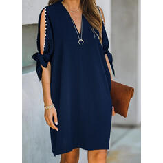 Solid/Beaded 1/2 Sleeves/Cold Shoulder Sleeve Shift Knee Length Little Black/Elegant Tunic Dresses