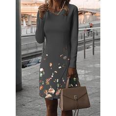 Εκτύπωση/Φλοράλ Μακρυμάνικο Μεσάτο Μήκος Γόνατος Κομψό Сукні