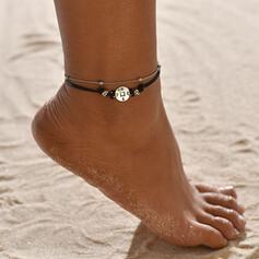 Simple Aleación Cuero cuerda con Etiqueta Moneda Joyas de playa Tobilleras (Juego de 2)