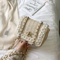 Pearl Style Straw Crossbody Bags/Shoulder Bags