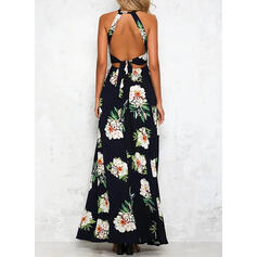 Print/Floral Sleeveless A-line Sexy/Party Maxi Dresses