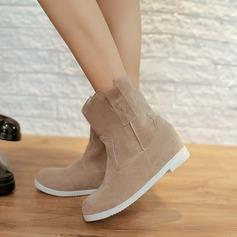 Femmes Suède Talon plat Bottes Bottes neige avec Semelle chaussures