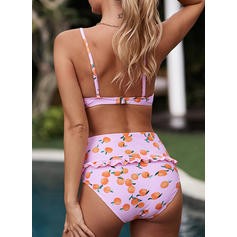 High Waist Print Strap Sexy Bikinis Swimsuits