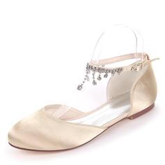 Femmes Soie comme du satin Talon plat Chaussures plates avec Boucle Strass