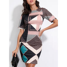 Geometric Print 1/2 Sleeves Bodycon Above Knee Casual Dresses