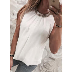 Beaded Solid Round Neck Sleeveless Tank Tops