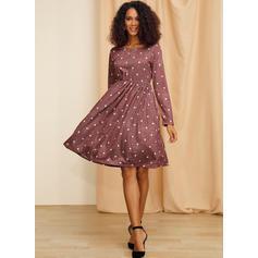PolkaDot Long Sleeves A-line Knee Length Casual Dresses