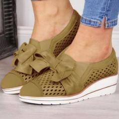 Femmes PU Talon plat Chaussures plates avec Bowknot chaussures