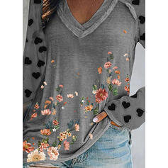 Print Floral Heart V-Neck Long Sleeves Casual T-shirts