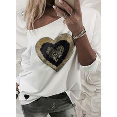 Pailletten Eine-Schulter Lange Ärmel Freizeit T-shirts
