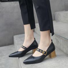 婦人向け PU チャンクヒール ポンプ とともに バックル 靴