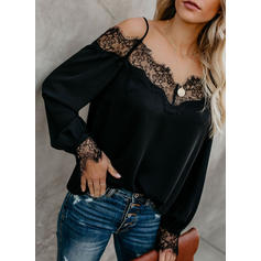 Solide Kant Off the Shoulder Lange Mouwen Casual Polka Prik Blouses