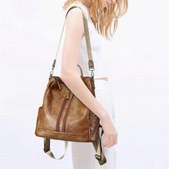 Solid Color PU Shoulder Bags/Backpacks