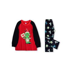 Color-block Cartoon Family Matching Christmas Pajamas