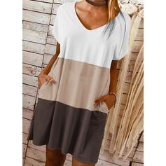 Color-block Korte ærmer Shift Over knæet Casual T-shirt Kjoler