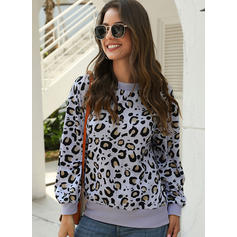 Animal Print Round Neck Long Sleeves Casual Blouses