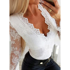 Lace V-Neck Long Sleeves Casual Sexy Blouses