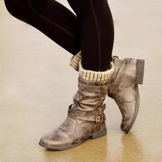 Pentru Femei PU Fară Toc Cizme Cizme până la jumătatea gambei cu Cataramă pantofi