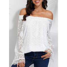 Solid Lace Off the Shoulder Long Sleeves Casual Elegant Blouses