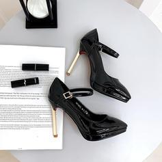 Women's Patent Leather Stiletto Heel Pumps Platform With Buckle shoes