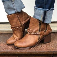 Női PU Chunky sarok Magassarkú Csizma Mid-Calf Csizma -Val Csat Cipzár cipő