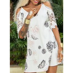 Lace/Floral/Animal Print 3/4 Sleeves Shift Above Knee Casual/Elegant Tunic Dresses