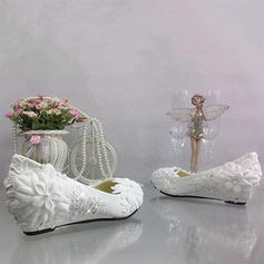 Women's Leatherette Wedge Heel Closed Toe Pumps With Imitation Pearl Stitching Lace Flower