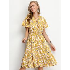 Nadrukowana/Kwiatowy Krótkie rękawy W kształcie litery A Długośc do kolan Casual/Elegancki/Wakacyjna Sukienki