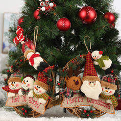 joyeux Noël Bonhomme de neige Renne Père Noël Osier Tissu non tissé Ornements suspendus Guirlande de Noël