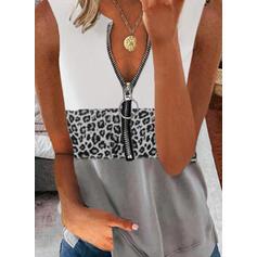 Blok Koloru lampart Nadruk Dekolt w kształcie litery V Bez Rękawów Koszulki bez rękawów