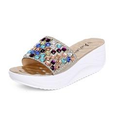 De mujer Cuero Tipo de tacón Sandalias Pantuflas con Rhinestone zapatos