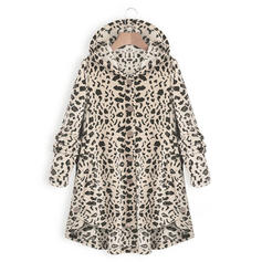 Polyester Long Sleeves Animal Print Blend Coats
