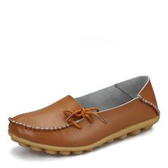 Femmes Vrai cuir Talon plat Chaussures plates avec Bowknot chaussures
