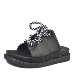 Women's Leatherette Flat Heel Sandals Flats Peep Toe Slingbacks Slippers shoes