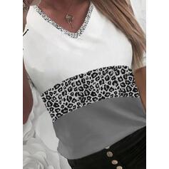 Color Block Leopard Sequins V-Neck Long Sleeves T-shirts