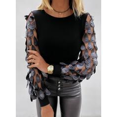 Solid Round Neck Long Sleeves Elegant Blouses