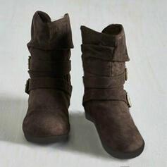 Frauen Kunstleder Flascher Absatz Flache Schuhe Stiefel Stiefelette mit Schnalle Schuhe