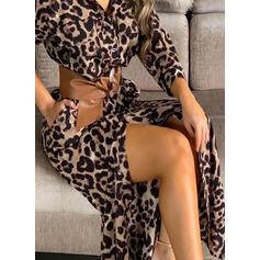 Leopard Lange Ärmel Etui Freizeit Maxi Kleider