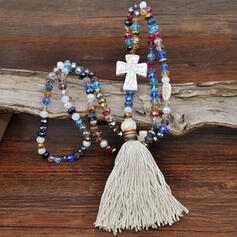 Colourful Cross Boho Natural Stone Crystal Cotton String With Tassels Imitation Crystal Beads Necklaces