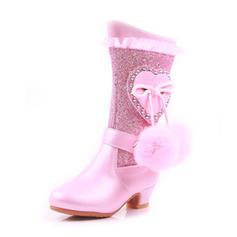 Dziewczyny Round Toe Zakryte Palce Połowy łydki buty Skóra ekologiczna Niski Obcas Kozaki Buty Flower Girl Z Koronka Perła pompon