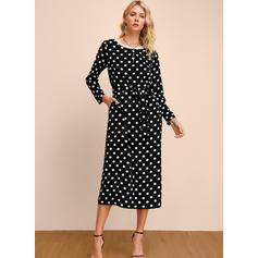 PolkaDot Long Sleeves Sheath Midi Casual/Elegant Dresses