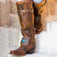 Frauen PU Niederiger Absatz Stiefel mit Niete Schuhe
