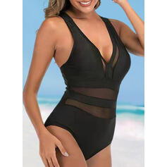 Solid Color Mesh Strap V-Neck Sexy Fashionable One-piece Swimsuits