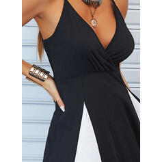 Color Block Sleeveless A-line Above Knee Casual Slip/Skater Dresses