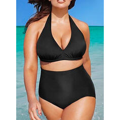 Solid Color High Cut Halter V-Neck Sexy Elegant Plus Size Bikinis Swimsuits