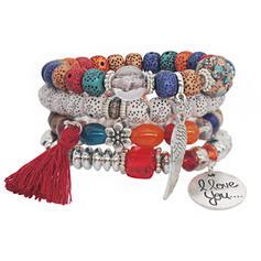 Šik Slitina Postříbřené Akryl Dřevěné korálky Ladies ' Módní náramky