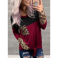 Bloco de Cor Leopardo Gola Redonda Manga Comprida Casual Camisetas
